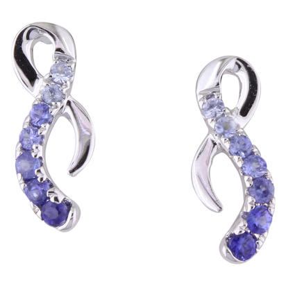 14K White Gold Graduated Blue Sapphire Earrings | ECC177GSXWI
