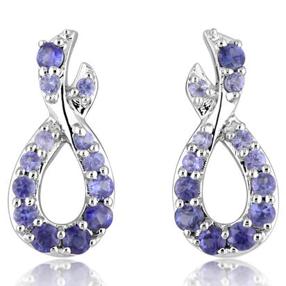14K White Gold Graduated Blue Sapphire Earrings | ECC178GSXWI