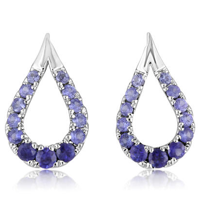 14K White Gold Graduated Blue Sapphire Earrings