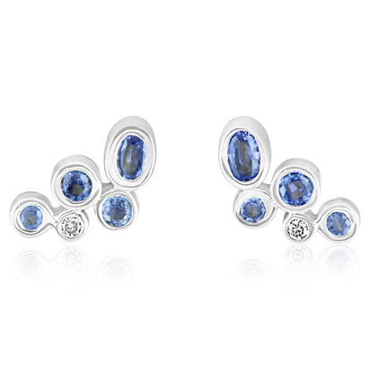 14K White Gold Yogo Sapphire/Diamond Earrings | ECC188Y22W