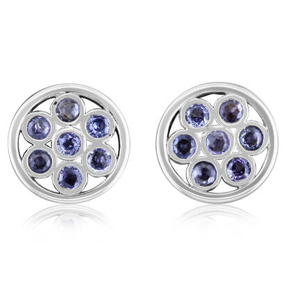 14K White Gold Yogo Sapphire Earrings | ECC189Y2XW