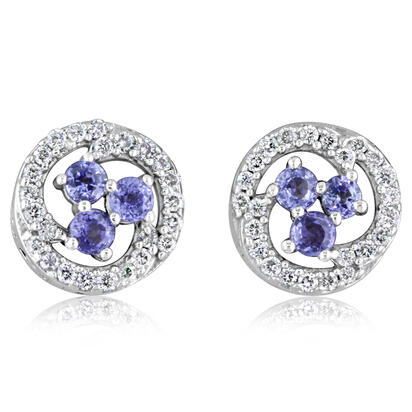 14K White Gold Yogo Sapphire/Diamond Earrings | ECC191Y22W