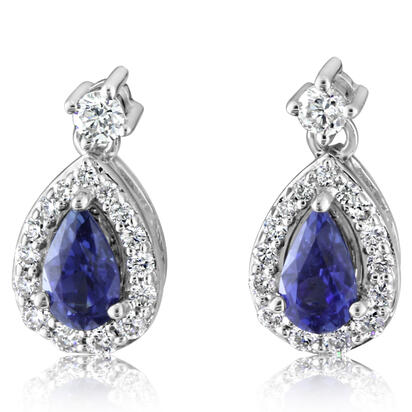 14K White Gold Sapphire/Diamond Earrings | ECC193S11WI