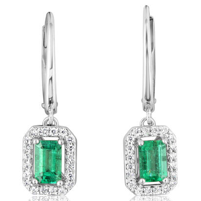 14K White Gold Emerald/Diamond Earrings | ECC194E12WI