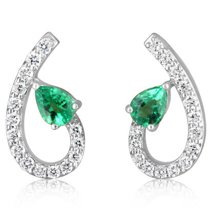 14K White Gold Emerald/Diamond Earrings | ECC197E12WI