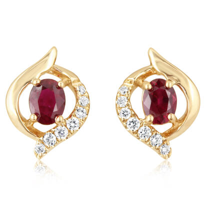 14K Yellow Gold Ruby/Diamond Earrings | ECC198R22CI