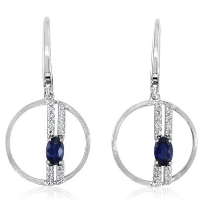 14K White Gold Blue Sapphire/Diamond Earrings | ECC199S12WI