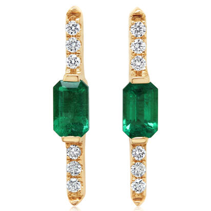 14K Yellow Gold Emerald/Diamond Earrings | ECC200E12CI