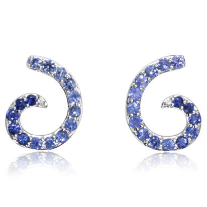 14K White Gold Graduated Blue Sapphire Earrings | ECC202GSXWI