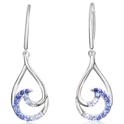 14K White Gold Graduated Blue Sapphire Earrings | ECC203GSXWI