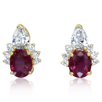 14K Yellow Gold Ruby/Diamond Earrings | ECC206R22CI