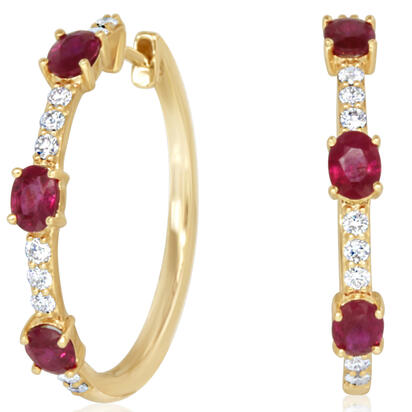 14K Yellow Gold Ruby/Diamond Earrings | ECC210R12CI