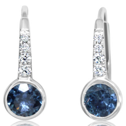 14K White Gold Montana Sapphire/Diamond Earrings