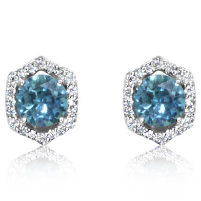 14K White Gold Montana Sapphire/Diamond Earrings | ECC212MS2WI