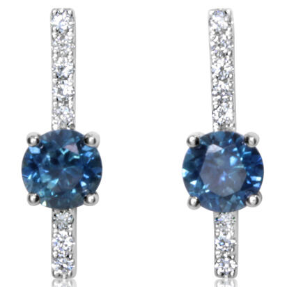 14K White Gold Montana Sapphire/Diamond Earrings | ECC213MS2WI