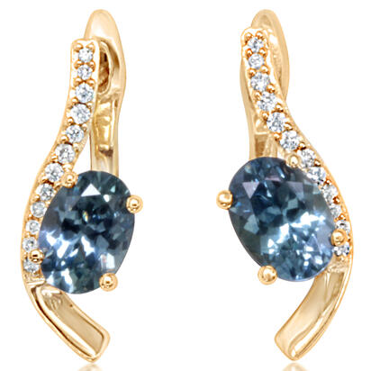14K Yellow Gold Montana Blue Sapphire/Diamond Earrings | ECC214MS2C