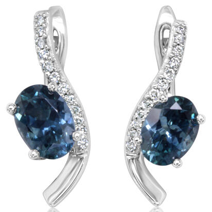 14K White Gold Montana Blue Sapphire/Diamond Earrings | ECC214MS2W
