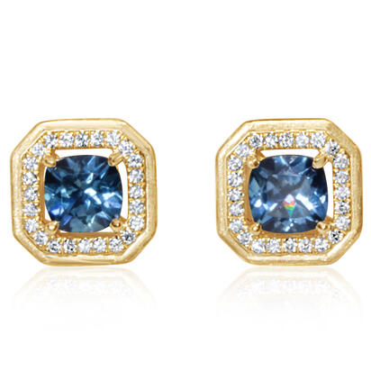 14K Yellow Gold Montana Sapphire/Diamond Earrings | ECC215MS2CI