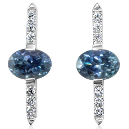 14K White Gold Montana Sapphire/Diamond Earrings | ECC216MS2WI