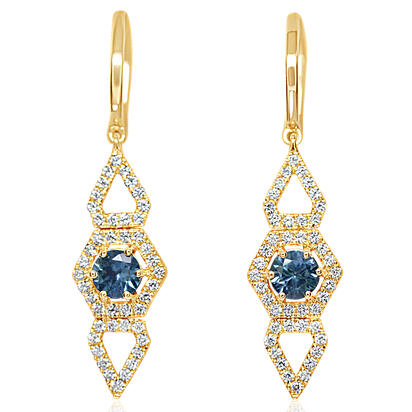 14K Yellow Gold Montana Sapphire/Diamond Earrings | ECC218MS2CI