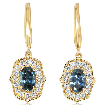 14K Yellow Gold Montana Sapphire/Diamond Earrings | ECC219MS2CI