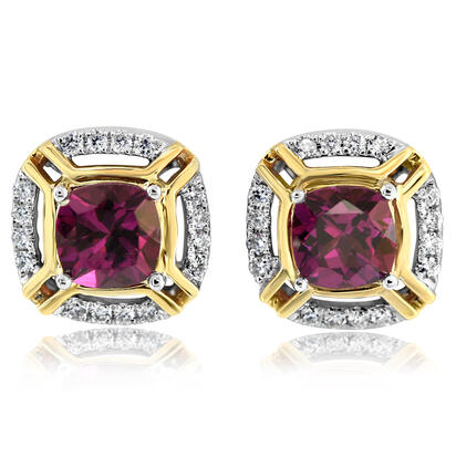 14K White and Yellow Gold Purple Garnet/Diamond Earrings | ECC220GP2AI
