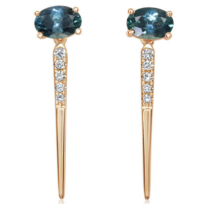 14K Yellow Gold Montana Sapphire/Diamond Earrings | ECC221MS2CI