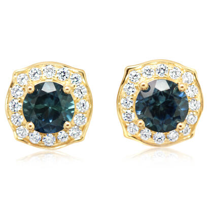 14K Yellow Gold Montana Sapphire/Diamond Earrings | ECC223MS2CI