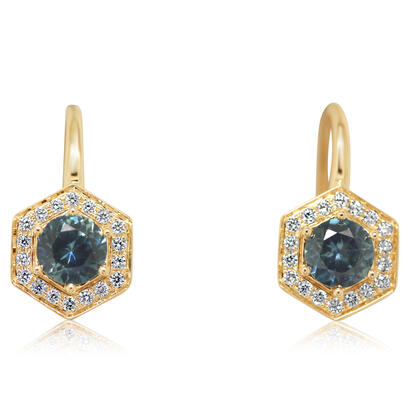 14K Yellow Gold Montana Sapphire/Diamond Earrings | ECC224MS2CI
