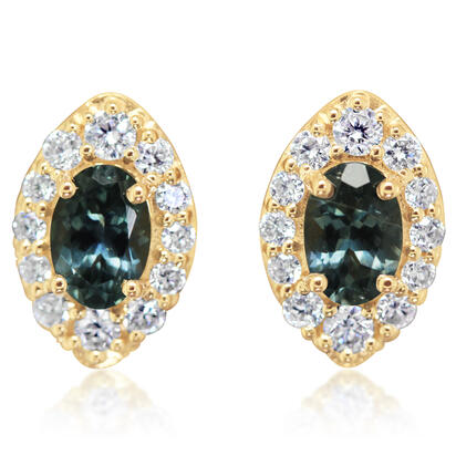 14K Yellow Gold Montana Sapphire/Diamond Earrings | ECC225MS2CI