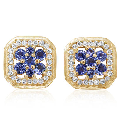 14K Yellow Gold Yogo Sapphire/Diamond Earrings | ECC227Y22C