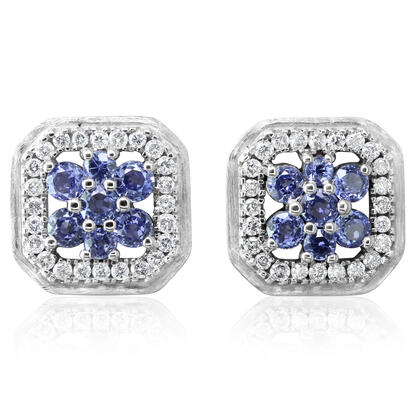 14K White Gold Yogo Sapphire/Diamond Earrings | ECC227Y22W