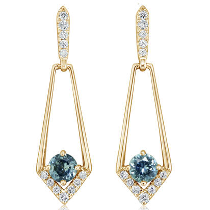 14K Yellow Gold Montana Sapphire/Diamond Earrings | ECC228MS2CI