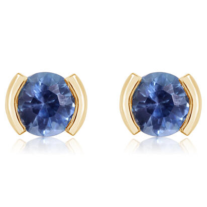 14K Yellow Gold Blue Topaz Earrings | ECC229B2XCI