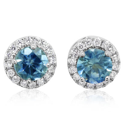 14K White Gold Montana Sapphire/Diamond Earrings | ECC230MS2WI