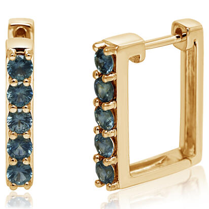14K Yellow Gold Montana Sapphire Earrings
