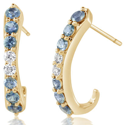 14K Yellow Gold Montana Sapphire/Diamond Earrings | ECC236MS1CI