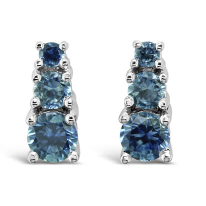 14K White Gold Montana Sapphire Earrings