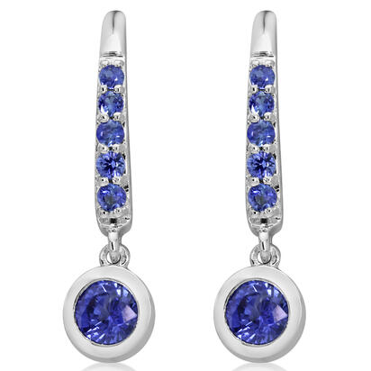 14K White Gold Blue Sapphire Dangle Earrings | ECC240S1XW