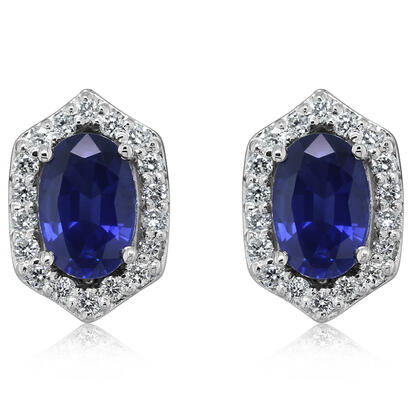 14K White Gold Blue Sapphire/Diamond Earrings | ECC245S11W