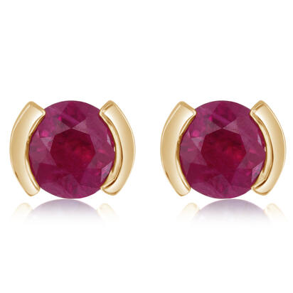 14K Yellow Gold Ruby Earrings | ECC329R2XCI