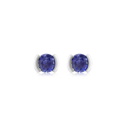 14K White Gold Blue Sapphire Earrings | ECC329S2XWI