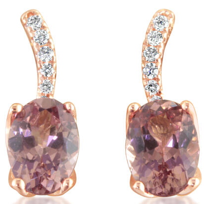 14K Rose Gold Lotus Garnet/Diamond Earrings | ECF008LG2RI