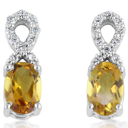 14K White Gold Citrine/Diamond Earrings | ECO006C23W