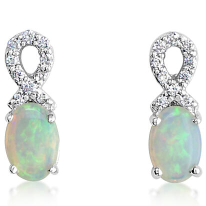 14K White Gold Australian Opal/Diamond Earrings | ECO006N03W