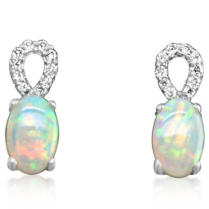 14K White Gold Australian Opal/Diamond Earrings | ECO006N13W
