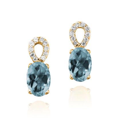 14K Yellow Gold Aquamarine/Diamond Earrings | ECO006Q23C