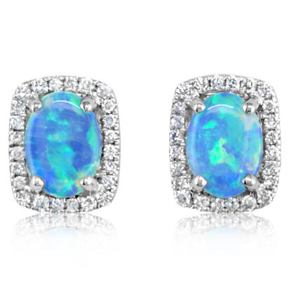 14K White Gold Australian Opal/Diamond Earrings | ECO011N11WI