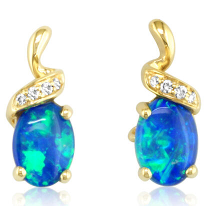 14K Yellow Gold Australian Opal/Diamond Earrings | ECO012N01CI