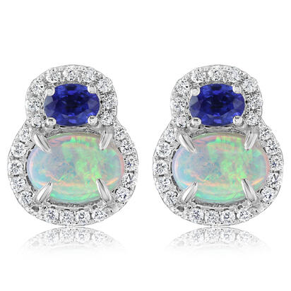 14K White Gold Australian Opal/Blue Sapphire/Diamond Earrings | ECO021N11WI